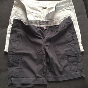 Eddie Bauer size 2 shorts tan and grey
